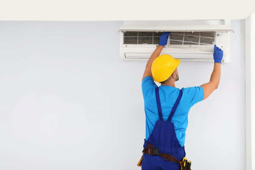 ductless mini split air conditioner on wall