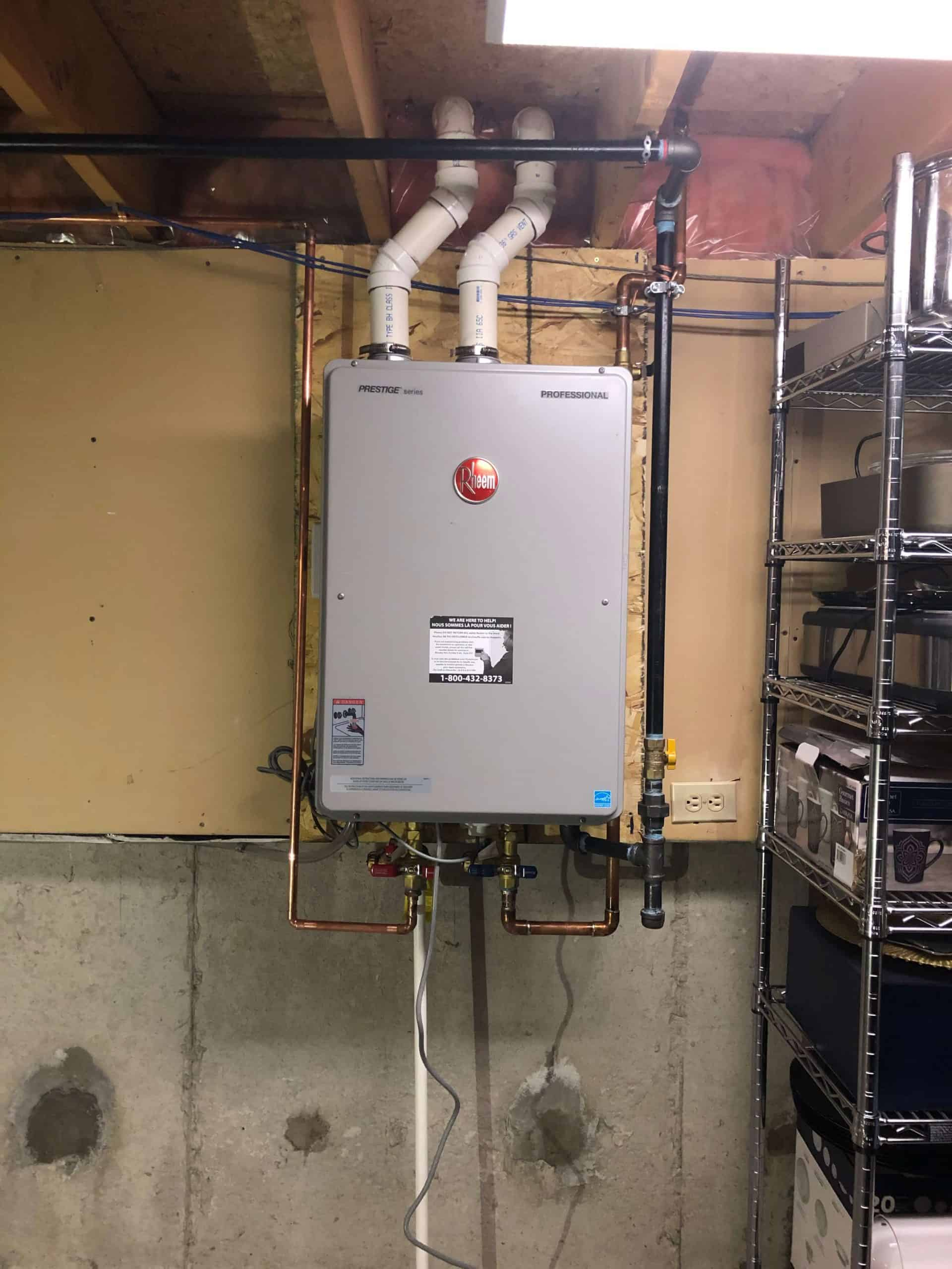 rheem tankless hot water heater installed