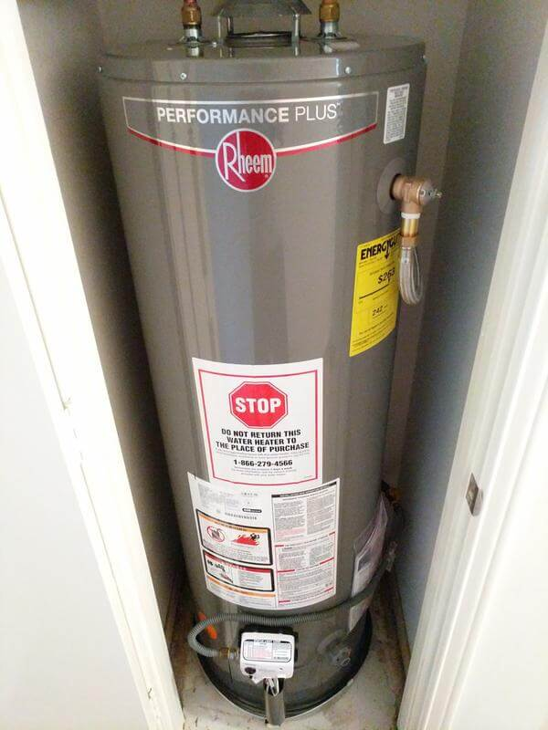rheem closet hot water heater