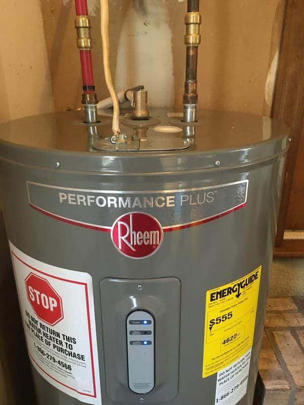 rheem high efficiency hot water tank installed